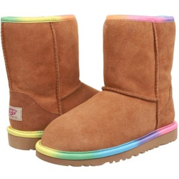 7f1ed29d87a Girls' Rainbow Trim Ugg Boots